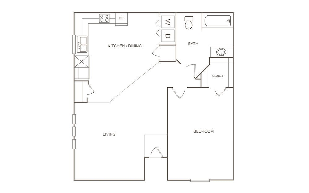 A - 1 bedroom floorplan layout with 1 bath and 751 square feet (1st floor 2D)