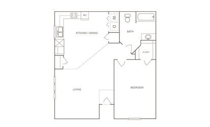 A - 1 bedroom floorplan layout with 1 bath and 751 square feet