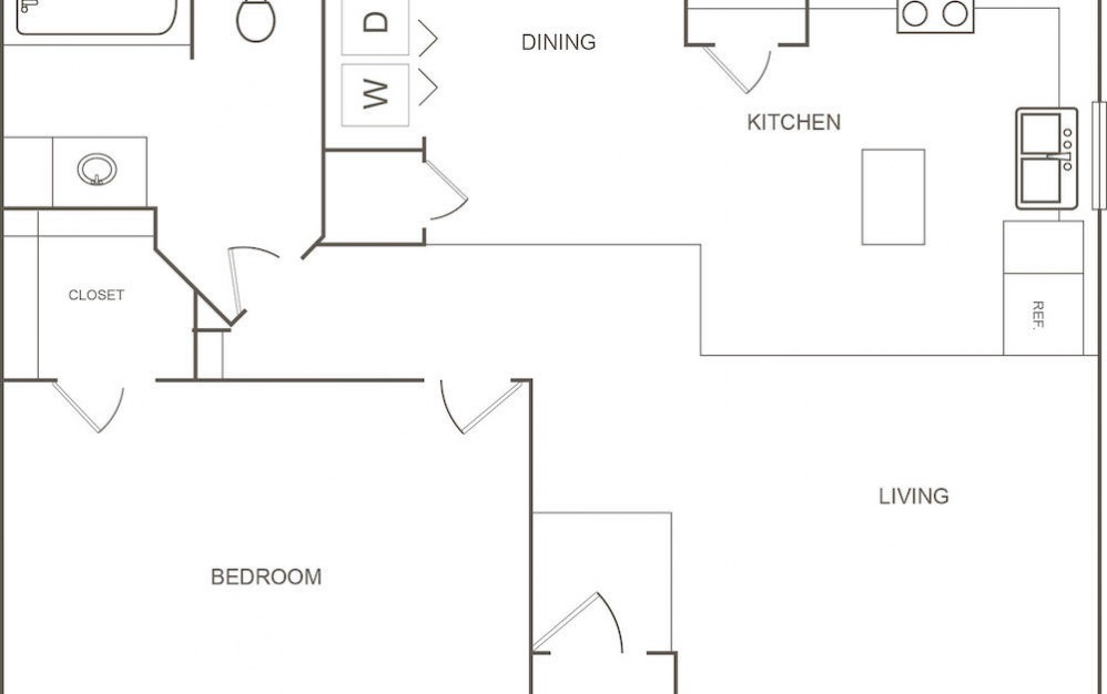 B - 1 bedroom floorplan layout with 1 bath and 751 square feet (1st floor 2D)
