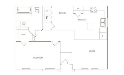 B - 1 bedroom floorplan layout with 1 bath and 751 square feet