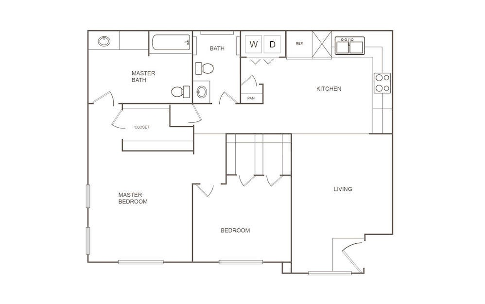 C - 2 bedroom floorplan layout with 2 bath and 951 square feet (1st floor 2D)
