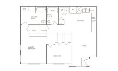 C - 2 bedroom floorplan layout with 2 bath and 951 square feet